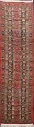 Excellent Vintage Traditional Geometric Hand-knotted Kork Wool Runner Rug 3and039x10and039