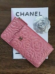 Chanel flower photo and card holder wallet  rose