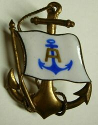 1900 1920s Steamship Lines Enameled Hat Badge - Anchor A