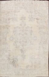 Antique Muted Kirman Handmade Evenly Low Pile Distressed Large Area Rug 10x13 Ft