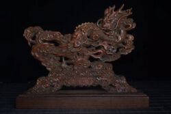 Chinese Boxwood Figurine Carved Dragon Mini Screen Statue Md072