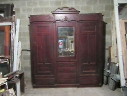 Antique Carved Oak Closet Front Built In Armoire 88 X 98 Salvage