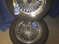 Mgc Roadster And Cgt Set Of Four Chrome 15and039and039 Wire Wheels 185x65 X15h Avon Tyre