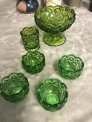 L. E. Smith Glass Green Moon And Stars Footed Compote, Toothpick Holder And 4 Salts