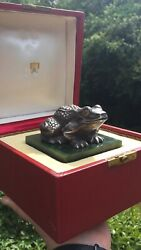 A Magnificent Large Russian Silver Jade Gold Frog Figure- Retailed By Cartier