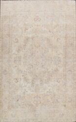 Antique Tebriz Muted Hand-made Distressed Evenly Low Pile Floral Area Rug 9and039x13and039