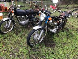 Pair Of Vintage Honda Cl350 Andlsquo70and Andlsquo72 Parts Bikes Locked Up