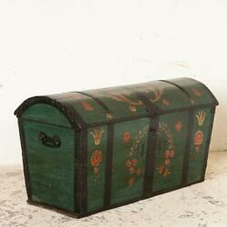 Antique Large Domed Top Green Painted Swedish Trunk Dated 1847