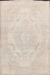 Muted Semi Antique Tebriz Distressed Hand-knotted Area Rug Evenly Low Pile 10x12