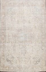 Muted Semi Antique Tebriz Distressed Evenly Low Pile Handmade Area Rug 10x12 Ft
