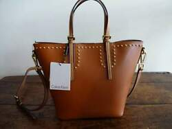 CALVIN KLEIN COGNAC Copper BAG in BAG Gold Studded Toni TOTE CROSSBODY BAG $89.99