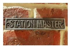 Cast Iron Antique Style Station Master Door Wall Train Plaque