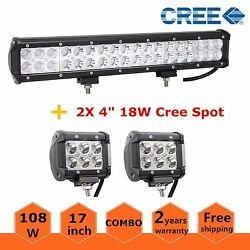 17inch 108w Led Light Bar Combo Atv Ute Driving Offroad+2x 18w Pods Work Lights