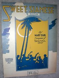 1919 SWEET SIAMESE Vintage Sheet Music by Mary Earl Edward Madden
