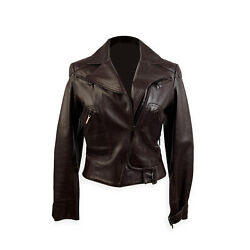 Authentic Christian Dior Brown Leather Women Biker Jacket Size 36 Fr