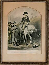 George Washington Valley Forge Antique 1859 Color Steel Engraving Print