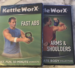 Kettleworx Fast Abs W/ Arms And Shoulders Cardio Resistance Pack Of 4 Dvd's Sealed