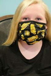School Bus Design Face Mask wNose Wire Adult size Washable Made in USA $13.95