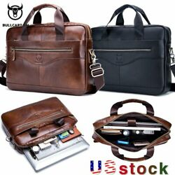 BULLCAPTAIN Men Genuine Leather Business Briefcase Laptop Messenger Shoulder Bag $35.99