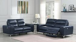 Top Grain Blue Leather Match Power Reclining Sofa Loveseat Living Room Furniture