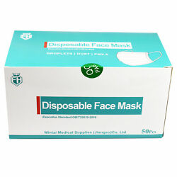 50 Pcs 3-ply Disposable Face Mask Protective Earloop Mouth Cover Fh High Quality