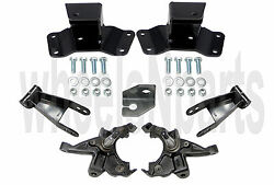 2/4 Drop Lowering Kit Spindles Shackles Hangers For 1988-91 Chevy 1500 2wd Truck