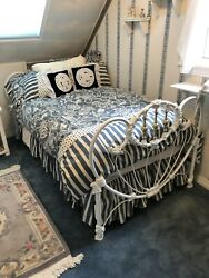 Vintage Cast Iron Twin Bed And Frame, White And Gold Finish, Ornate Design