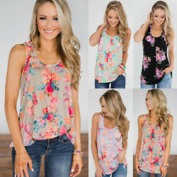 Womens Sleeveless Tank Tops Ladies Summer Flower Loose Casual Blouses Tee $11.29