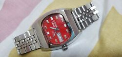 Vintage Citizen Hand Ceramic Red Dial Stainless Steel Hand Winding watch