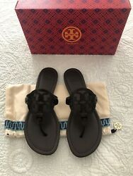 Tory Burch MILLER Croco Emboss Brown Soft Leather Sandal Size 8 New $169.99