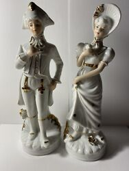"""Gold And White Porcelain Figurines Victorian Couple 8.5"""" Tall: Made In Korea"""