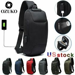 OZUKO Mens Anti-theft Lock Shoulder Chest Bag With USB Oxford Travel Backpack US $9.99