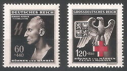 Dr Wwii Germany Rare Ww2 Stamp '1942 Heydrich Ss Posthumous Mask Eagle R Cross