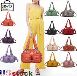 Angelkiss Large Capacity Washed Leather Handbag Daily Gift  Purse Shoulder Bags $23.99