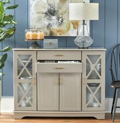 Buffet Cabinet Kitchen Dining Room Storage Organizer Sideboard Console Taupe Fin