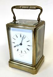 Antique Brass STRIKING ON BELL Carriage Clock : HALL & CO MANCHESTER