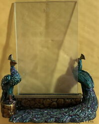 Jay Strongwater Flora Fauna Collection 2-sided Picture Frame Peacocks Crystals
