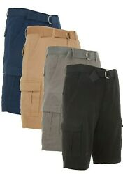 Men's Cargo Shorts Casual Cotton Twill Multi Pockets Lightweight Outdoor Belted $18.99