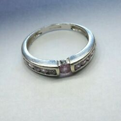 9 Carat White Gold Pink Sapphire Channel And Tension Set Band Ring I 1/2 Xl465