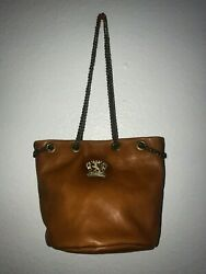 Pratesi Firenze Bucket Handbag Made In Italy Leather W Chain Straps Cognac Tan $64.00