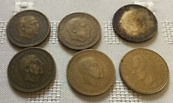 Spanish Pesetas 6 Coins 1953 1963 19663 And 1975