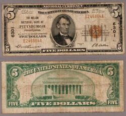 Pittsburgh Pa 5 1929 T-1 National Bank Note Ch 6301 Mellon Nb Very Good