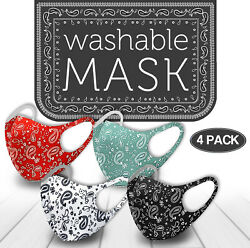 4 Pack Mix! Face Mask Paisley Reusable Washable Protection Cover Breathable $11.99