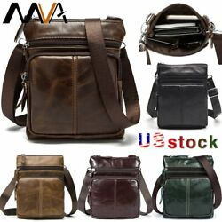 MVA Men#x27;s Genuine Leather Messenger Bag Business Shoulder Small Crossbody Bags $16.99