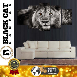 5 Panel B&W Lion with Colored Eyes Photo Modern Decor Wall Art Canvas HD Print