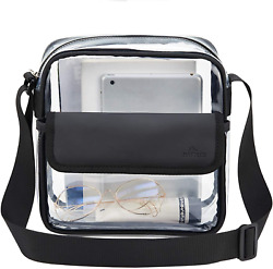 MAY TREE Clear Crossbody Purse Bag NFL Stadium Approved Transparent Shoulder Ba $14.44