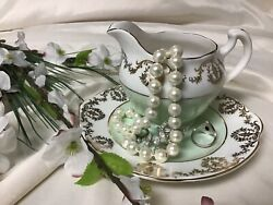 Imperial Fine English China Warranted 22k Creamer And Small Plate Mint Green