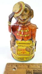 1950's Monkey Bank By Chein - Very Good Original Condition -us