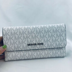 MICHAEL KORS JET SET TRAVEL LARGE TRIFOLD MK SIGNATURE WALLET Bright White $69.99