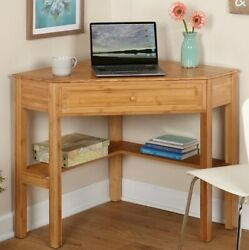 Natural Bamboo Finish Corner Desk For Home Office Computer Study